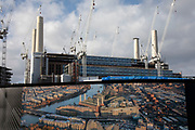 Redevelopment of Battersea Power Station and its surroundings on 1st February 2020 in London, England, United Kingdom. Battersea Power Station is a decommissioned coal-fired power station located on the south bank of the River Thames, in Nine Elms, Battersea, an inner-city district of South West London. Now a well advanced construction site and under development, the site will become both residential and commercial.