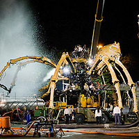 Giant blasts of water explode all over the place covering La Princess.