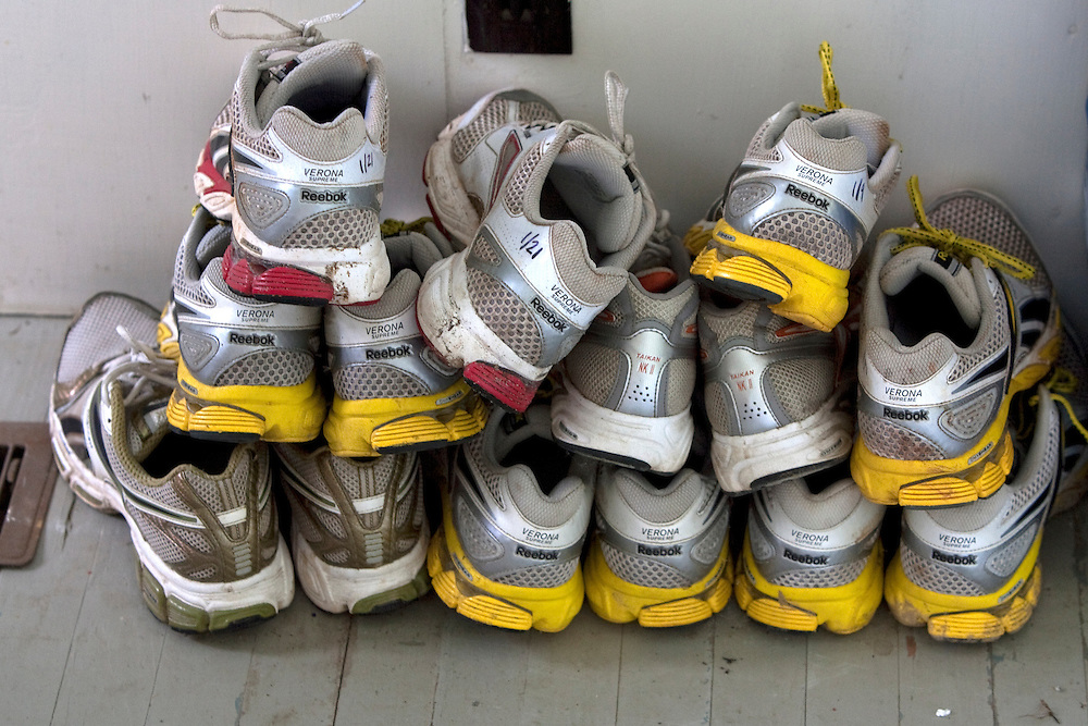 Zap Fitness Athletes shoes stack up at the training center in Blowing Rock, NC..