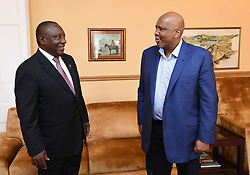 MASERU, Feb. 11, 2017  Visiting South African Deputy President Cyril Ramaphosa (L) pays a courtesy call on Lesotho's King Letsie III in Maseru, Lesotho, on Feb. 10, 2017. South African Deputy President Cyril Ramaphosa, in his capacity as Southern African Development Community (SADC) facilitator, left for Maseru, Lesotho on Friday to mediate the political conflict in the kingdom.  zxj) (Credit Image: © Xinhua via ZUMA Wire)