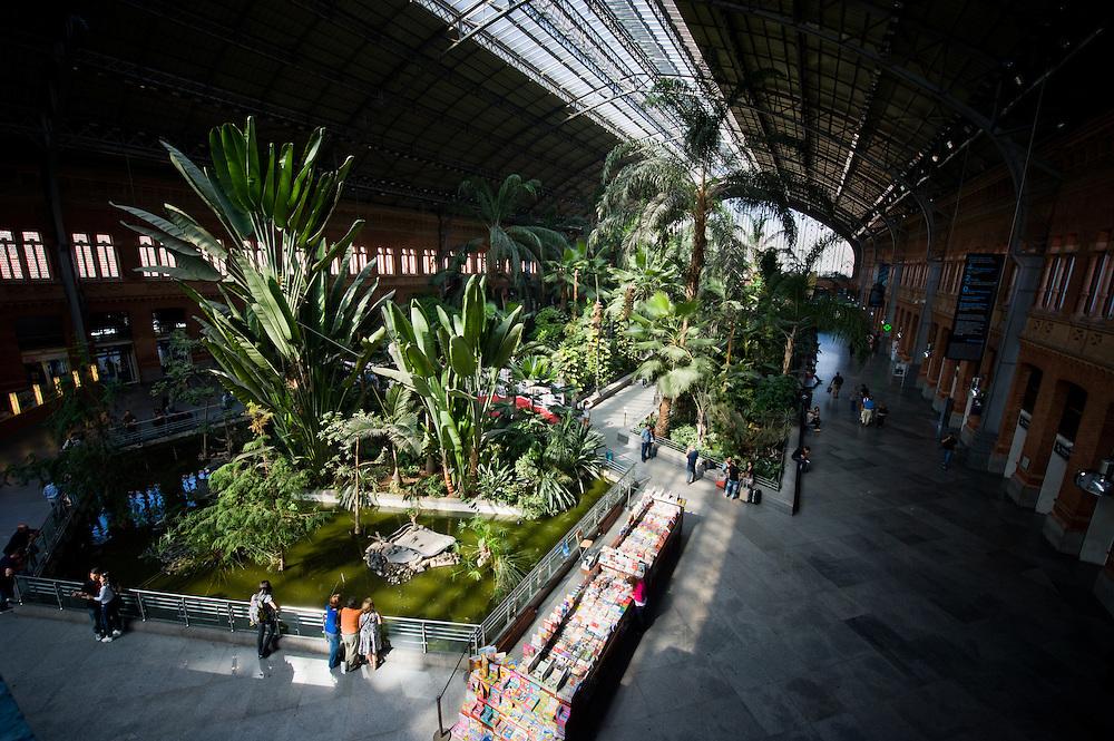 Atocha Station in Madrid, Spain. It has a huge jungle inside.
