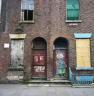 A graffiti-covered derelict building in a street in the centre of Liverpool on the river Mersey. The Mersey is a river in north west England which stretches for 70 miles (112 km) from Stockport, Greater Manchester, ending at Liverpool Bay, Merseyside. For centuries, it formed part of the ancient county divide between Lancashire and Cheshire.