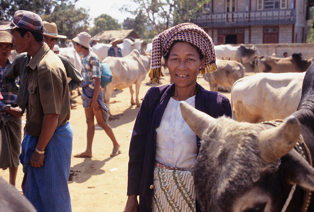 Paluang woman, Heho Cattle auction and market, Shan State, Myanmar