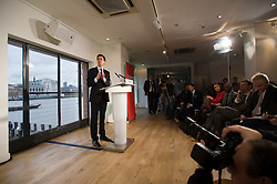 © Licensed to London News Pictures. 10/01/2012. London, UK. Labour Party leader, ED MILIBAND, giving a speech on the UK economy at the OXO Tower on the Southbank, London on January 10th, 2012. Photo credit : Ben Cawthra/LNP