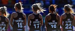 05-06-2014 NED: WK Hockey Nieuw-Zeeland - Nederland, Den Haag<br /> Nederland wint met 2-0 van New Zealand /  Line up Nieuw Zeeland
