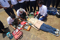 May 23, 2019 - Mumbai, India - Doctors and paramedics are seen demonstrating the rescue of a road accident victim through air ambulance in Mumbai, India on 23 May 2019. ICATT (International Critical Care Air Transfer Team) has launches India's first Helicopter Emergency Medical service. Air ambulance equipped to treat accident victims, carry out in flight stabilization and teat critical patient on-board. (Credit Image: © Himanshu Bhatt/NurPhoto via ZUMA Press)