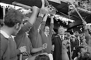 06/09/1970<br /> 09/06/1970<br /> 6 September 1970<br /> All-Ireland Senior Hurling Final: Cork v Wexford at Croke Park, Dublin. <br /> <br /> Cork Captain, Paddy Barry, raising the cup high in celebration.