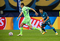 SAINT PETERSBURG, RUSSIA - NOVEMBER 04: Adam Marušić of SS Lazio takes on Douglas Santos of Zenit St Petersburg during the UEFA Champions League Group F stage match between Zenit St. Petersburg and SS Lazio at Gazprom Arena on November 4, 2020 in Saint Petersburg, Russia. (Photo by MB Media)