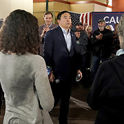 Democratic presidential candidate Andrew Yang addresses supporters and potential caucus voters during a town hall at the Ideal Social Hall in Cedar Rapids, Iowa on Thursday, January 30, 2020.