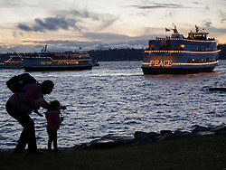 United States, Washington, Bellevue, Medina Beach Park, annual Christmas Ship Festival