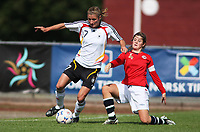 STAVANGER, NORWAY - JUNE 26 : Caroline Schiewe - Maren Mjelde U20 women international friendly match between Norway and Germany at the klepp stadium  on June 26, 2008 in Stavanger, Norway. (Photo by Sigbjoern Anderas Hofsmo, Digitalsport, Bongarts/Getty Images for DFB)