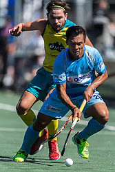 (L-R) Flynn Ogilvie of Australia, Chinglensana Kangujam of India during the Champions Trophy finale between the Australia and India on the fields of BH&BC Breda on Juli 1, 2018 in Breda, the Netherlands.