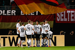 November 15, 2018 - Leipzig, Germany - Leroy Sane (N19) of Germany celebrates his goal with teammates during the international friendly match between Germany and Russia on November 15, 2018 at Red Bull Arena in Leipzig, Germany. (Credit Image: © Mike Kireev/NurPhoto via ZUMA Press)
