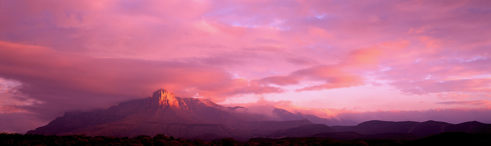 El Capitan glows in the first light of dawn in Guadalupe Mountains National Park, TX.