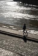 France. Paris. 4th district. Seine river quay des Celestins.flooding. Seine river  / le quai des Celestins. La Seine en crue