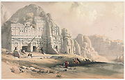 Petra, Jordan Eastern End of the Valley 1839 Color lithograph by David Roberts (1796-1864). An engraving reprint by Louis Haghe was published in a the book 'The Holy Land, Syria, Idumea, Arabia, Egypt and Nubia. in 1855 by D. Appleton & Co., 346 & 348 Broadway in New York.