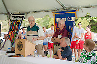 Duffy Dodge shares stories with the crowd of working on the pool construction in 1943 during the 70th Anniversary celebration of the Kiwanis Pool in St. Johnsbury Vermont.  Karen Bobotas / for Kiwanis International