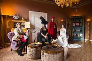 """Venice, February 2019<br /> Models pose at Hotel Heureka wearing a """"Lady Oscar"""" dress, faithful reproduction of uniform by General Austrian, worn by the famous heroine in the first version of the manga, a """"Violin black"""" dress based on the typical Andrienne model dress of the second half of the 1700s, a red velvet dress for men, of the second half of the 1400s, taken from a Bellini subject, and a white dress with long train inspired by Princess Leila of Star Wars. <br /> The theme for the 2019 edition of Venice Carnival is 'Venice, the oldest city of the future!' and will run from 16th of February to 5th of March 2019."""