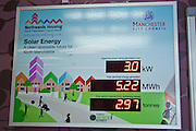 A solar photovoltaic energy-monitoring panel at a Northwards housing residential home. Northwards housing have dramatically improved the energy rating to thousands of homes they manage for Manchester city council.