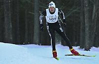 20011202: Børre Næss fra Efteløf idrettslag ble nummer åtte i juniorklassen under søndagens utslagsrenn Gålåsprinten på Dombås. Langrenn menn. (Foto: Andreas Fadum)