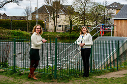 Pictured: <br />Scottish Greens co-leader Lorna Slater, Lothian candidate Alison Johnstone and list candidate Kate Neven visited the micro-hydro project at Saughton public park in Edinburgh to highlight the party's support for public and community owned renewable energy projects. The Archimededes Screw on the water of Leith made the park the first UK's first eco-powered greenspace<br /><br />Ger Harley | EEm 23 April 2021