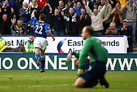 Photograph: Scott Heavey.<br />Leicester City v Tottenham Hotspur. 19/10/2003. FA Barclaycard Premiership.<br />Paul Dickov celebrates his openong goal