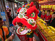 "08 FEBRUARY 2016 - BANGKOK, THAILAND:  Lion dancers perform inside a gold shop for Chinese New Year on Yaowarat Road in Bangkok's Chinatown district, during the celebration of the Lunar New Year. Chinese New Year is also called Lunar New Year or Tet (in Vietnamese communities). This year is the ""Year of the Monkey."" Thailand has the largest overseas Chinese population in the world; about 14 percent of Thais are of Chinese ancestry and some Chinese holidays, especially Chinese New Year, are widely celebrated in Thailand.      PHOTO BY JACK KURTZ"