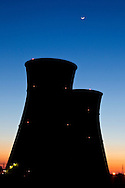 Rancho Seco, Herald, California, USA, 16th February 2010:  Sunset frames the cooling towers of the Rancho Seco Nuclear power plant which was decomissioned in 1989 as a result of a public vote.  20 years on, the site is now home to a solar energy array and a 500MW natural gas power plant operated by the Sacramento Muncipal Utility District (SMUD)..Photo: Joseph Feil