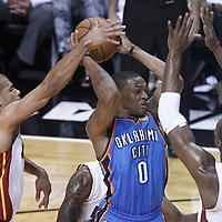 21 June 2012: Oklahoma City Thunder point guard Russell Westbrook (0) is seen in traffic during the Miami Heat 121-106 victory over the Oklahoma City Thunder, in Game 5 of the 2012 NBA Finals, at the AmericanAirlinesArena, Miami, Florida, USA. The Miami Heat wins the series 4-1.