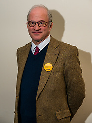 North Berwick, East Lothian, Scotland, United Kingdom, 28 November 2019. General Election: First hustings for the 5 candidates seeking election as MP for East Lothian with questions from the audience rating fro Defence to Honesty. Pictured: Robert O'Riordan, Scottish Liberal Democrats candidate.<br /> Sally Anderson | EdinburghElitemedia.co.uk