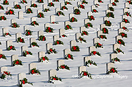 65095-03004 Wreaths on graves in winter Jefferson Barracks National Cemetery St. Louis,  MO