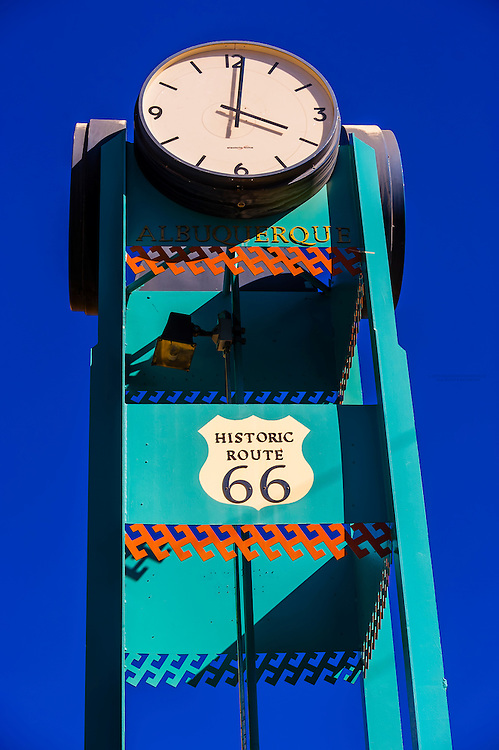 Historic Route 66 clock tower in Downtown Albuquerque, New Mexico USA.