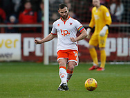 Blackpool's Jimmy Ryan wearing a rainbow armband, part of the Rainbow Laces campaign to promote LGBT inclusivity in football, during the EFL Sky Bet League 1 match between Fleetwood Town and Blackpool at the Highbury Stadium, Fleetwood, England on 25 November 2017. Photo by Paul Thompson.