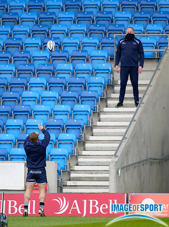 Sale Sharks hooker Akker Van Der Merwe practices his line out throws to coach Pete Anglesea during the warm up during a Gallagher Premiership Round 14 Rugby Union match, Sunday, Mar 21, 2021, in Eccles, United Kingdom. (Steve Flynn/Image of Sport)