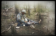 """Colorized photographs soldiers from the World War One<br /> <br /> With his impressive colorized photographs of the World War One, Frédéric Duriez gives us a new look at the conflict that ravaged the world between 1914 and 1918, revealing the difficult daily life of the French soldiers. <br /> <br /> Photo Shows:""""""""""""Bois de Spandau"""""""" in Northeast """"""""Bois Sabot"""""""", October 27, 1915 . A French soldier killed while he ate.<br /> ©Frédéric Duriez/Exclusivepix Media"""