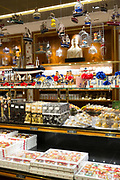Marzipan sweets and candy on display inside J.G. Niederegger shop in Lubeck - famous for marzipan, Northern Germany