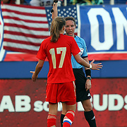 Russia forward Ekaterina Pantyukhina (17) gets shown a yellow card during an international friendly soccer match between the United States Women's National soccer team and the Russia National soccer team at FAU Stadium on Saturday, February 8, in Boca Raton, Florida. (AP Photo/Alex Menendez)