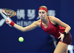 November 3, 2017 - Kristina Mladenovic of France hits a return during the singles match against Julia Goerges of Germany at the 2017 WTA Elite Trophy tennis tournament in Zhuhai, south China's Guangdong Province, Nov. 3, 2017. Mladenovic lost by 0-2. (Credit Image: © Lu Hanxin/Xinhua via ZUMA Wire)