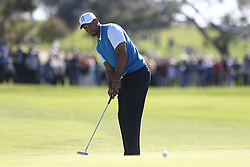 January 26, 2017 - San Diego, California, United States - Tiger Woods putts the 4th green during the first round of the Farmers Insurance Open at Torrey Pines GC. (Credit Image: © Debby Wong via ZUMA Wire)