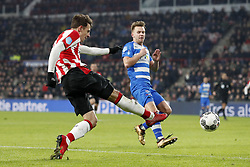 (L-R) Santiago Arias of PSV, Wouter Marinus of PEC Zwolle during the Dutch Eredivisie match between PSV Eindhoven and PEC Zwolle at the Phillips stadium on February 03, 2018 in Eindhoven, The Netherlands