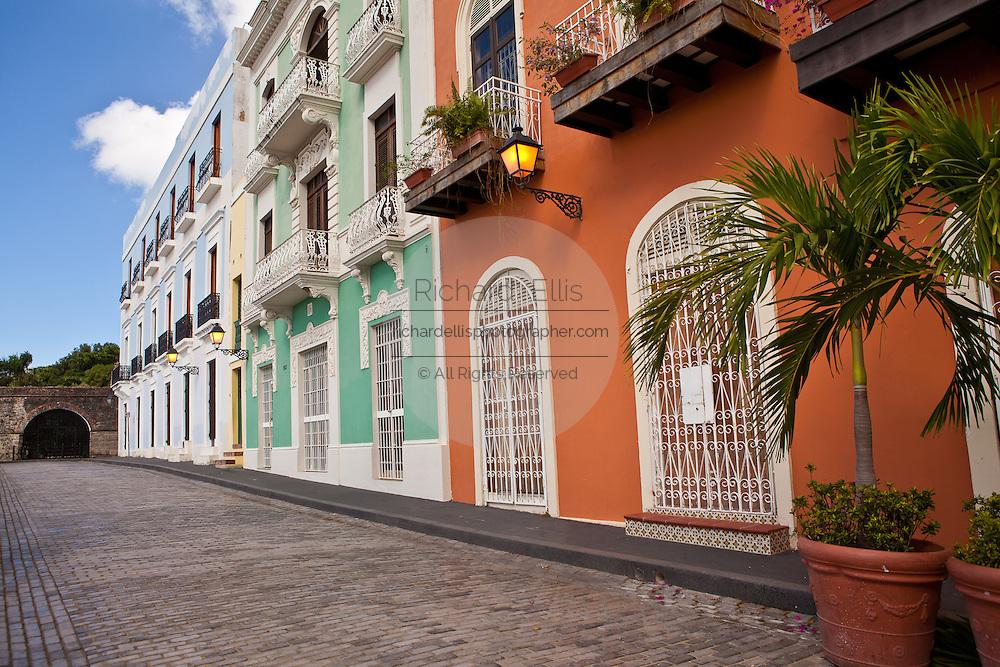 Historic traditional homes along Calle Recinto Sur Old San Juan, Puerto Rico.