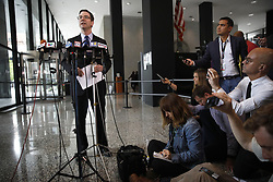 August 7, 2017 - Chicago, IL, USA - Ed Siskel, attorney for the City of Chicago, speaks at Dirksen U.S. Courthouse in Chicago about the lawsuit filed against the Department of Justice regarding the withholding of funds to Chicago for its status as a sanctuary city for immigrants, seen here on Monday, August 8, 2017. (Credit Image: © Jose M. Osorio/TNS via ZUMA Wire)