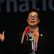 London, UK. 4th March 2018. Presenter Sue Perkins at the Women's Day march 2018 marks 100 years since (some) women in the UK were legally allowed to vote. One hundred years on women still marching for equality demand 50/50 women in  Paliament calling for an end sexual harassment, violence and rape.