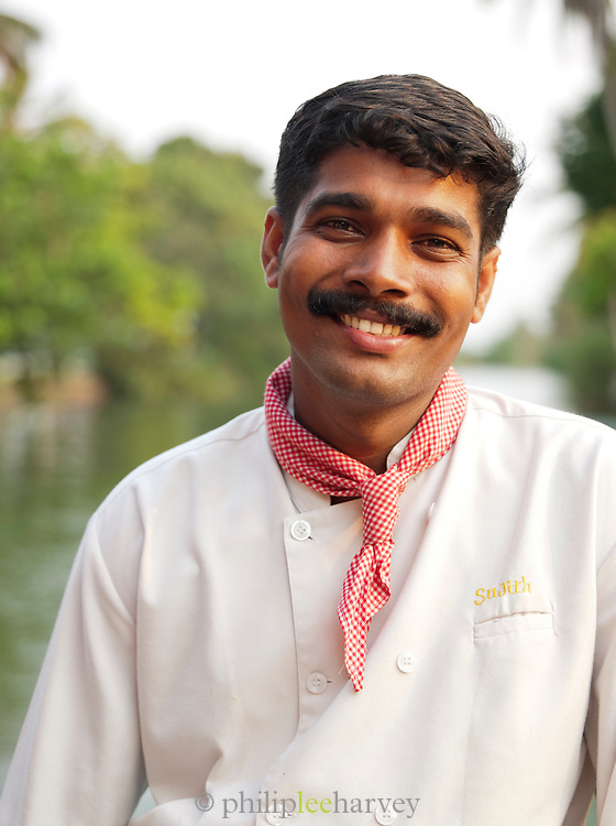 A chef on one of the many houseboats in the Kerala Backwaters, near Alappuzha, India