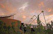 Close-up of Santa Fe Opera house at sunset