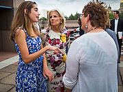 28 JUNE 2019 - DES MOINES, IOWA: Dr. JILL BIDEN, center, and her granddaughter, NATALIE BIDEN, left, greet voters at the State Historical Museum of Iowa. Dr. Biden was in Des Moines Friday to campaign for her husband, former Vice President Joe Biden. Vice President Biden, who was Vice President for 8 years during the Obama administration, is one of the Democratic front runners for the Presidency. Iowa traditionally hosts the the first selection event of the presidential election cycle. The Iowa Caucuses will be on Feb. 3, 2020.             PHOTO BY JACK KURTZ