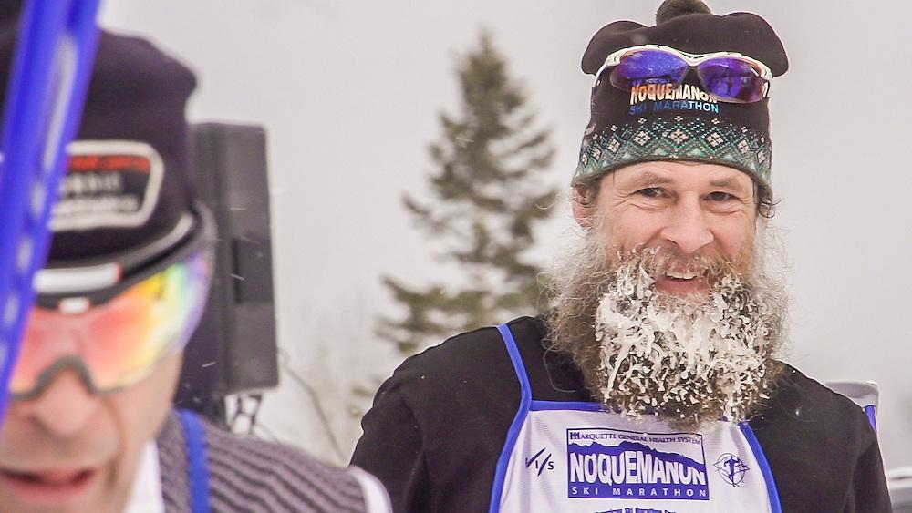 Video frame grabs still from video 1920x1080 of the Noquemanon Ski Marathon in Marquette, Michigan.