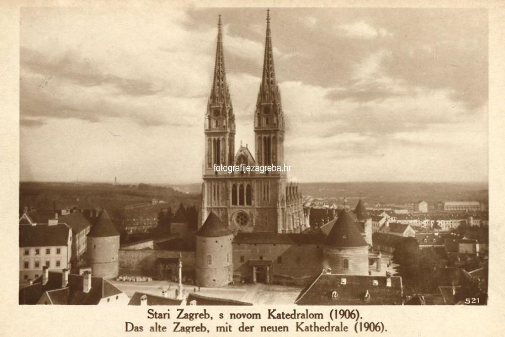 Stari Zagreb, s novom katedralom (1906) = Das alte Zagreb, mit der neuen Kathedrale (1906). <br /> <br /> Impresum[S. l. : S. n.], 1906.<br /> Materijalni opis1 razglednica : tisak ; 9 x 14 cm.<br /> Vrstavizualna građa • razglednice<br /> ZbirkaGrafička zbirka NSK • Zbirka razglednica<br /> ProjektPozdrav iz Hrvatske • Pozdrav iz Zagreba<br /> Formatimage/jpeg<br /> PredmetZagreb –– Kaptol<br /> Katedrala Uznesenja Marijina (Zagreb)<br /> SignaturaRZG-KAP-17<br /> Obuhvat(vremenski)20. stoljeće<br /> NapomenaRazglednica nije putovala.<br /> PravaJavno dobro<br /> Identifikatori000955316<br /> NBN.HRNBN: urn:nbn:hr:238:790484 <br /> <br /> Izvor: Digitalne zbirke Nacionalne i sveučilišne knjižnice u Zagrebu