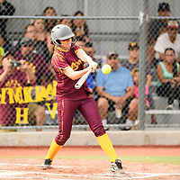 Makaylah Raybal batting in the first inning for the Copper All Stars against Sunset at the Little League Softball State Tournament, Friday July 13.
