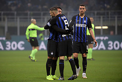 December 26, 2018 - Milan, Milan, Italy - Lautaro Martinez #10 of FC Internazionale Milano and Mauro Icardi #9 of FC Internazionale Milano celebrate a victory at the end of the serie A match between FC Internazionale and SSC Napoli at Stadio Giuseppe Meazza on December 26, 2018 in Milan, Italy. (Credit Image: © Giuseppe Cottini/NurPhoto via ZUMA Press)